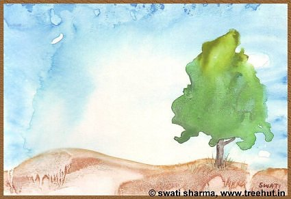 Water color treescape art idea