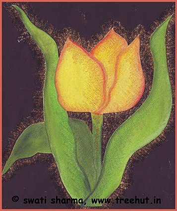Yelloe tulip abstract art idea