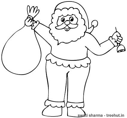 Santa Claus with bell coloring page