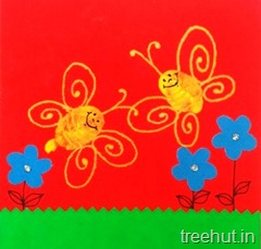 finger printing butterfly kids craft