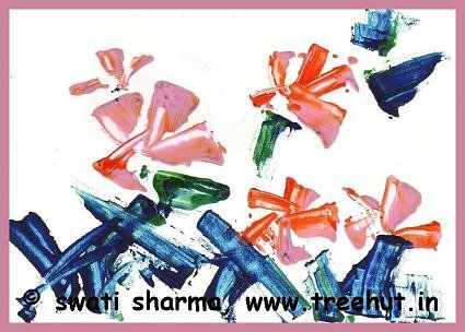 Abstract water color art idea flowers