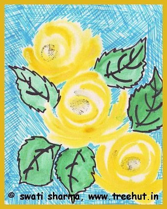 water color and sketch pen art idea roses