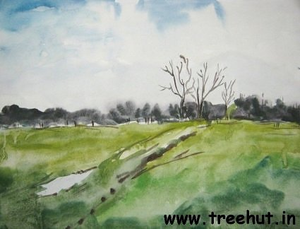 Fields in water color by Mekhla Jaiswal