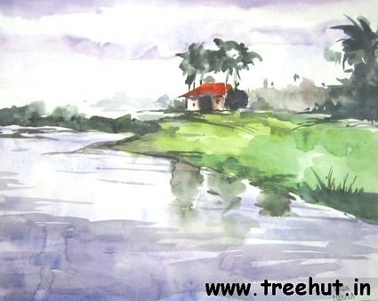 Riverscape in water color by Mekhla Jaiswal