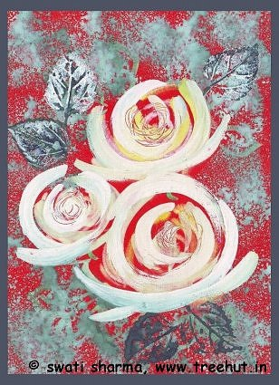 Leaf printing and water color roses art idea for Christmas card