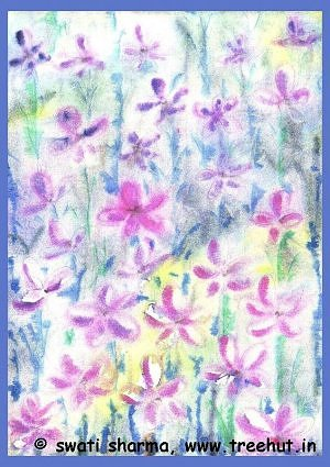 field of flowers water color art idea for handmade gift wrap paper