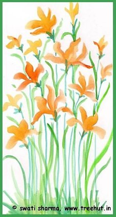 summer flowers in water color art idea