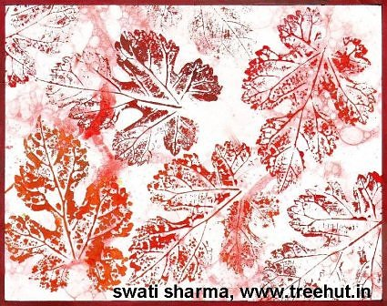 Leaf printing art idea for handmade gift wrap paper idea