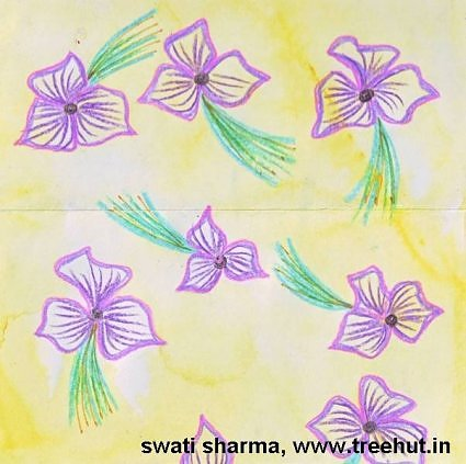 Handpainted flowers wrapping paper idea