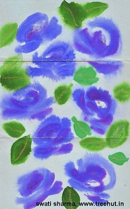 blue roses water color art for gift wrap paper