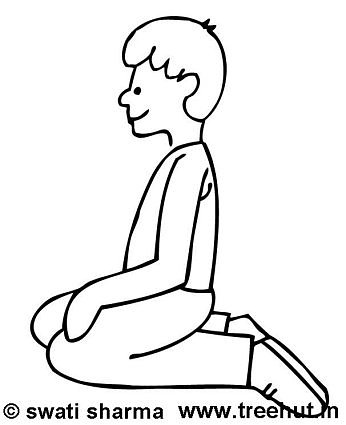 Boy Yoga Vajrasan coloring page