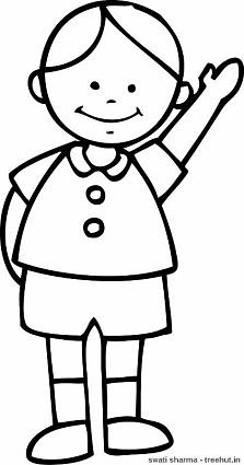 boy waving coloring page - Boys Coloring Sheets