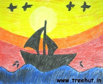 Boat at sunset art by Srishti Havelia