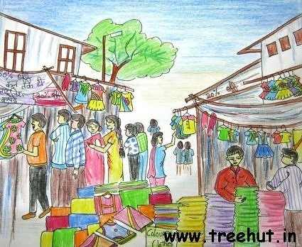 Indian Marketplace Drawing Market Scene Ch...