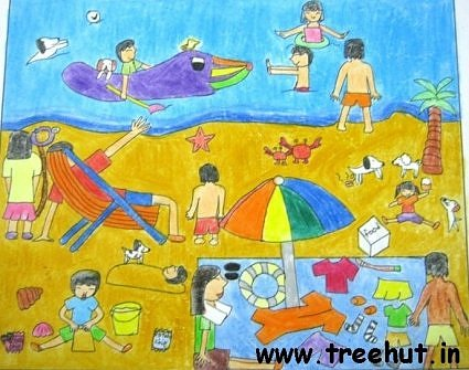 sea beach art work by Gloria kid India