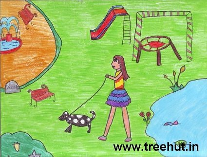 Girl in park kids art by Tanishi Gola India