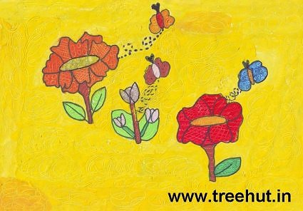 flowers kids art by Vibhati Tandon