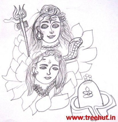 Shiva Parvati pencil ketch by child Vansh Arora India