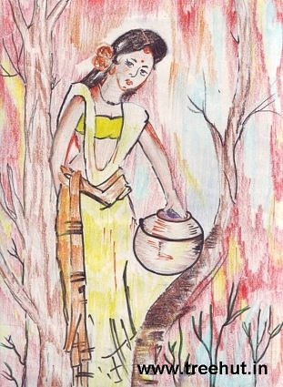 Indian girl in jungle art by child  Yashonidhi