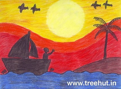 Ananya Gauri child art sunset boat