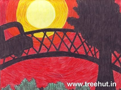 Artwork Sunset scene car on bridge by child Nikita Khanna