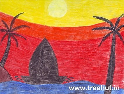 Boat at sea by Siddhi Pandey child art India