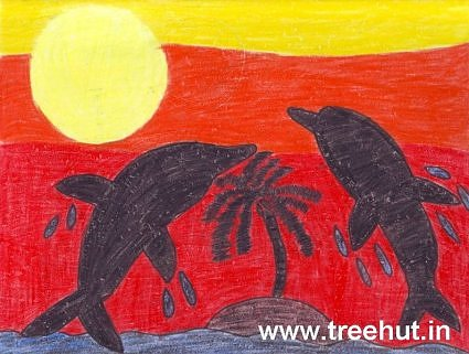 Kid art idea Dolphins at sunset by Omansh Bhatnagar Lucknow India