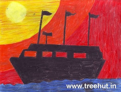 Kids Art Ship at Sunset by Sarvagya Asthana India