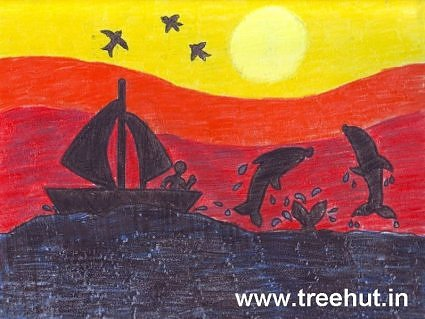 Sun set art by child Yash Singh India