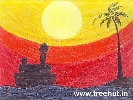 Sunset sea horizon child art by Divyanshi Mishra Lucknow India