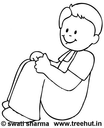 Sitting boy coloring page