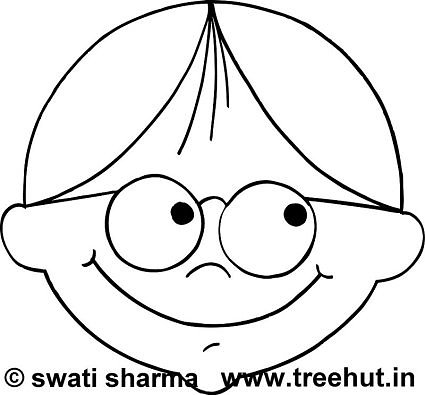 Boy with glasses face mask template coloring page