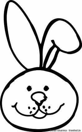 Bunny rabit face mask template coloring page