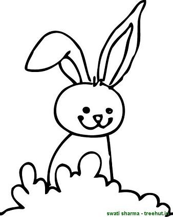 bunny in field coloring sheet
