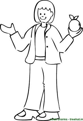 girl holding apple like scientist Newton coloring page