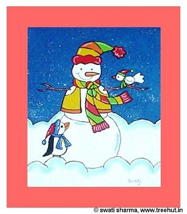 Snowman painting for children's room