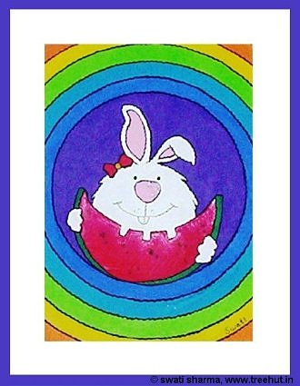 rainbow bunny rabbit painting for childrens room