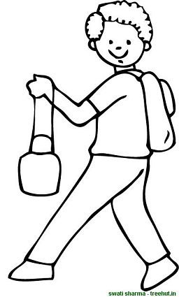 boy going to school coloring pages