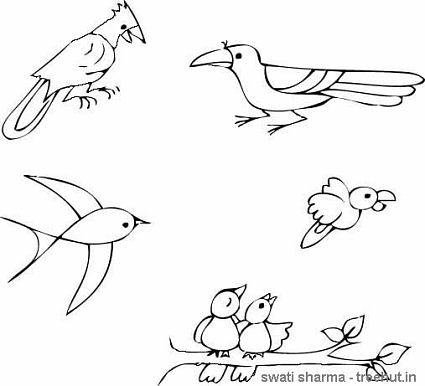 crow swallow parrot bulbul birds coloring pages