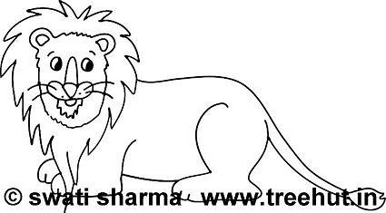 cute sitting lion coloring page