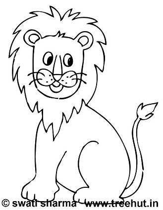 lion printable coloring page for kindergarten kids
