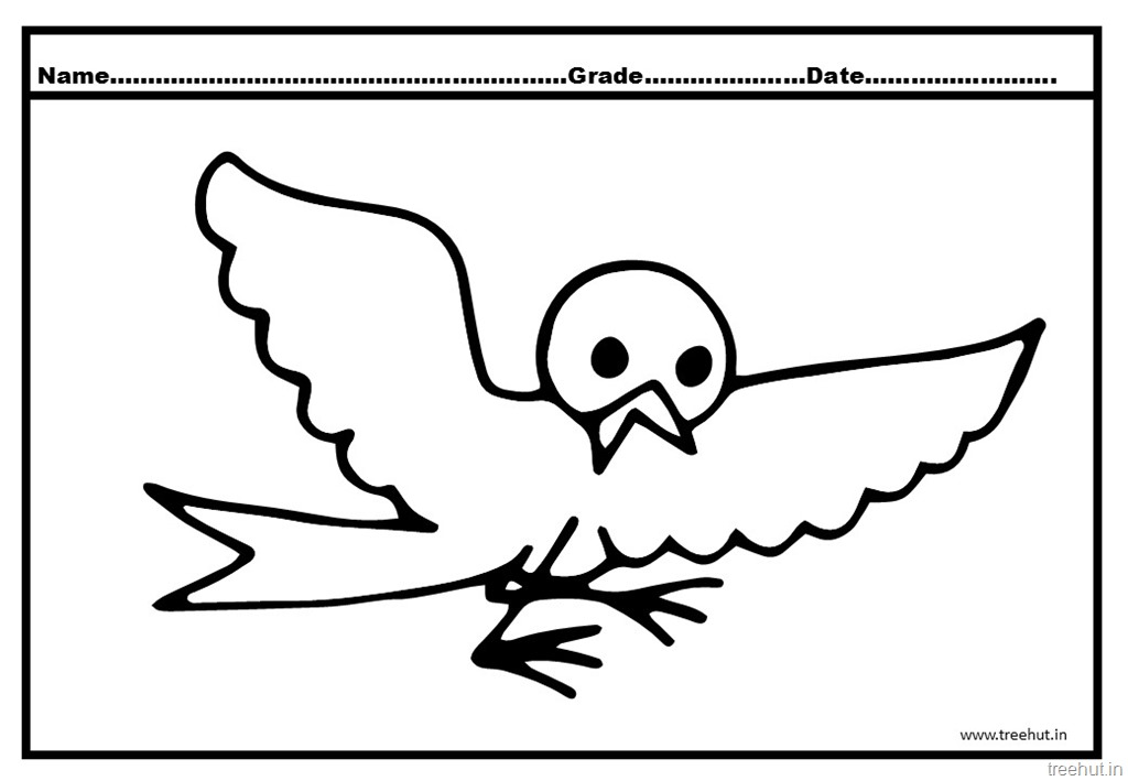 cute flying bird coloring page