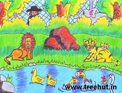 jungle scene kids art with crayons