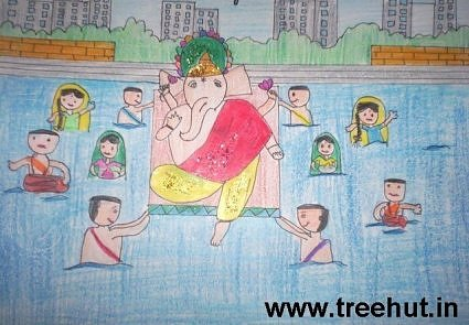 Ganesh Utsav kids art with crayons