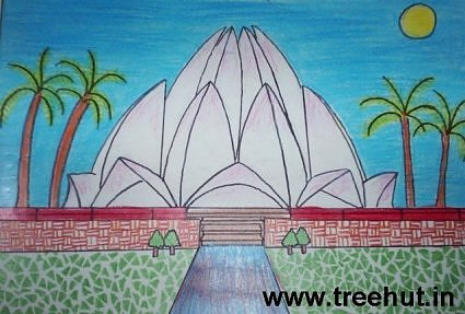Lotus temple Delhi India Kids Artwork