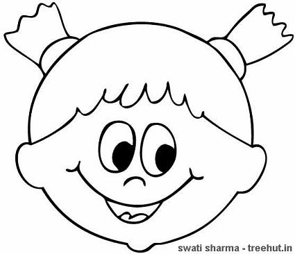 girl in pigtails coloring page