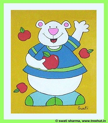 teddy and apples in modern art for kids room