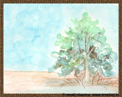 watercolour paintings busy tree by Swati Sharma Lucknow India