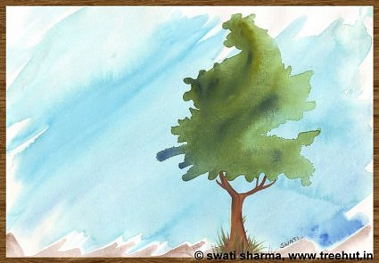 watercolour paintings tree by Swati Sharma Lucknow India