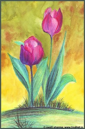 watercolour paintings tulips by Swati Sharma Lucknow India